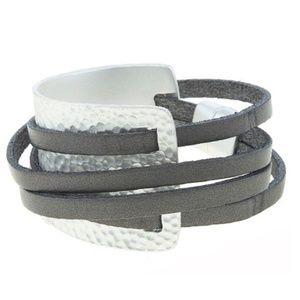 Jewelry - Edgy Chic Faux Leather Wrap Bracelet